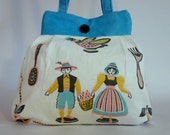 Upcycled Purse - Vintage Dutch Linen - Spring Purse