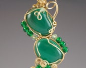 Double Green Agate Asymmetrical Wire Wrapped Pendant and Beaded Necklace
