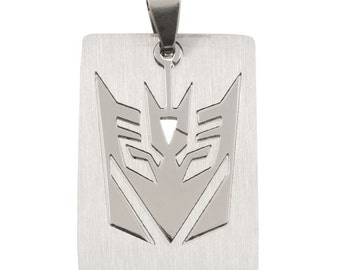 Stainless Steel 25mm x 35mm Silver Transformer Decepticon Pendant - 1 Pendant - 1441