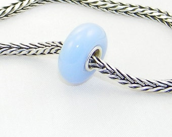Light blue large hole glass bead with sterling silver core for European charm bracelets and necklaces