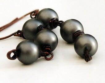 Earrings dangles 'METROPOLIS' medium matt grey glass pearl earrings and oxidised antiqued brass wire wrapped earrings