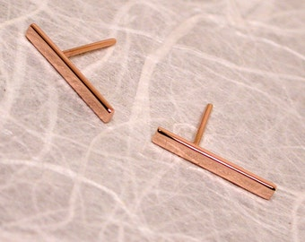 15mm x 2mm 14k Rose Gold Bar Earrings Modern Pink Gold Jewelry by SARANTOS
