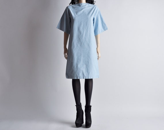 denim boat neck sack dress / s / m