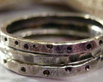 SET - Set of Three Fine Silver Hammered Patterned Stacking Rings