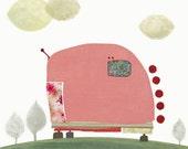 Pink Caravan  -  Art - Illustration - Wall Decor - Art Print  - Children - Baby Nursery - Trailer - Pink