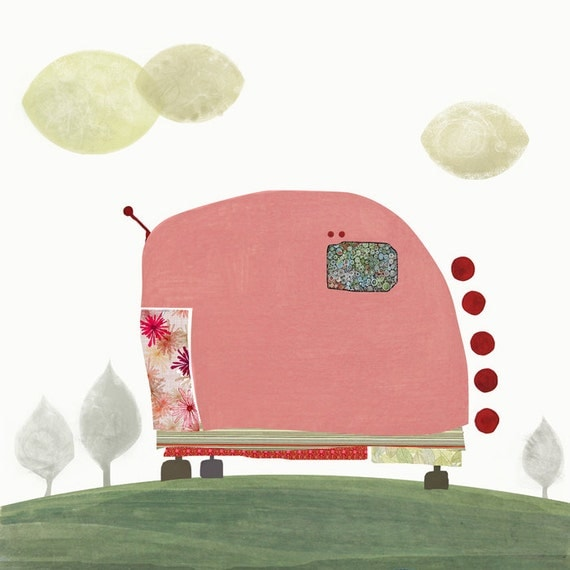Pink Caravan  -  Art - Illustration - Wall Decor - Art Print  - Children - Baby Nursery - Trailer - Pink