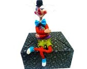 Clown scupture - shelf sitter - art doll cat - animal Collectibles- floral patteren with red and orange stripes