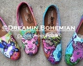 Whimsical Farm Animals DESIGN painted on your TOMS in Bright colors with BLiNg