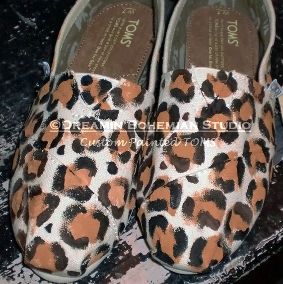 Leopard or Cheetah Print Design Fee ONLY painted on TOMS you ship to me