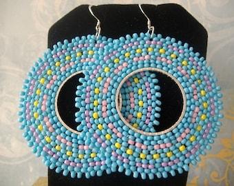 Seed Bead Earrings Beadwork Hoop Earrings Cotton Candy Pastel Beaded Jewelry