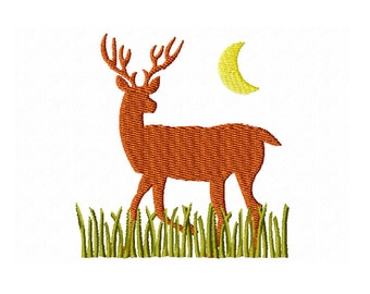 Deer Embroidery Design / midnight deer