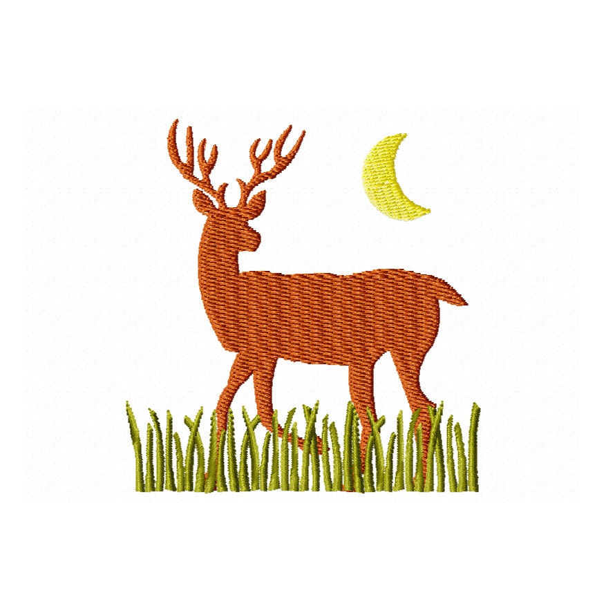 Items similar to deer embroidery design midnight on