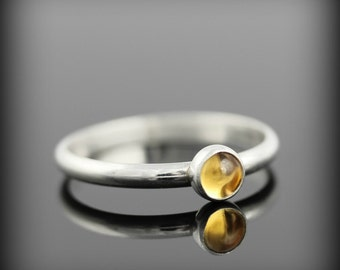 Citrine ring - recycled sterling silver ring with bezel set 4mm gemstone, November birthstone