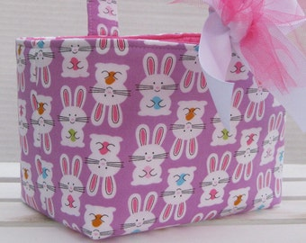 READY TO SHIP - Easter Fabric Basket Candy Bucket Bin Storage Container - Bunny Flip Fabric