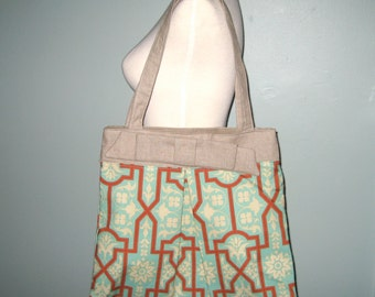 Linen and Cotton Tohoku Tote - Joel Dewberry Deer Valley Architectural Celadon - Tote Bag - Shoulder Bag - Purse