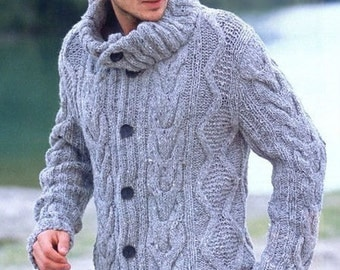 Hand Knit Sweater Patterns : On SALE Hand Knit Mens Sweater With Cable pattern by tvkstyle