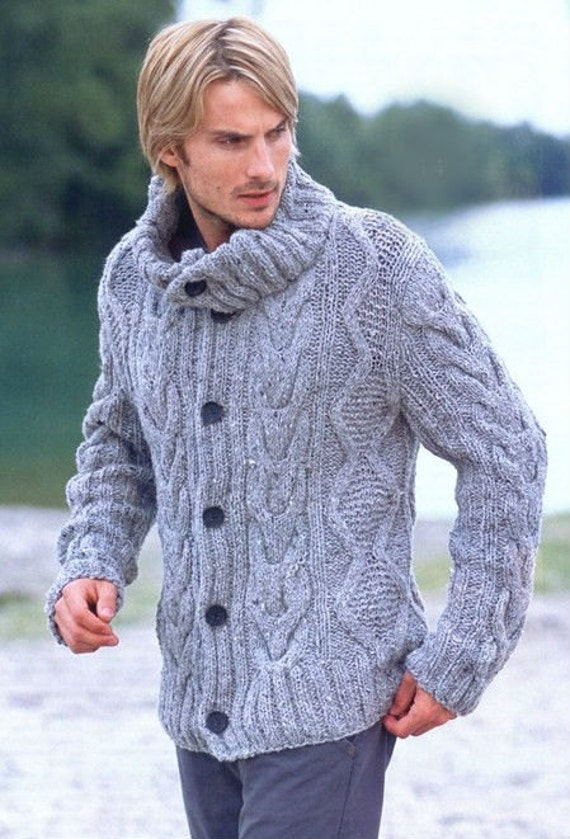Mens Jacket Sweater Hand Knit Cabled Pattern from Best