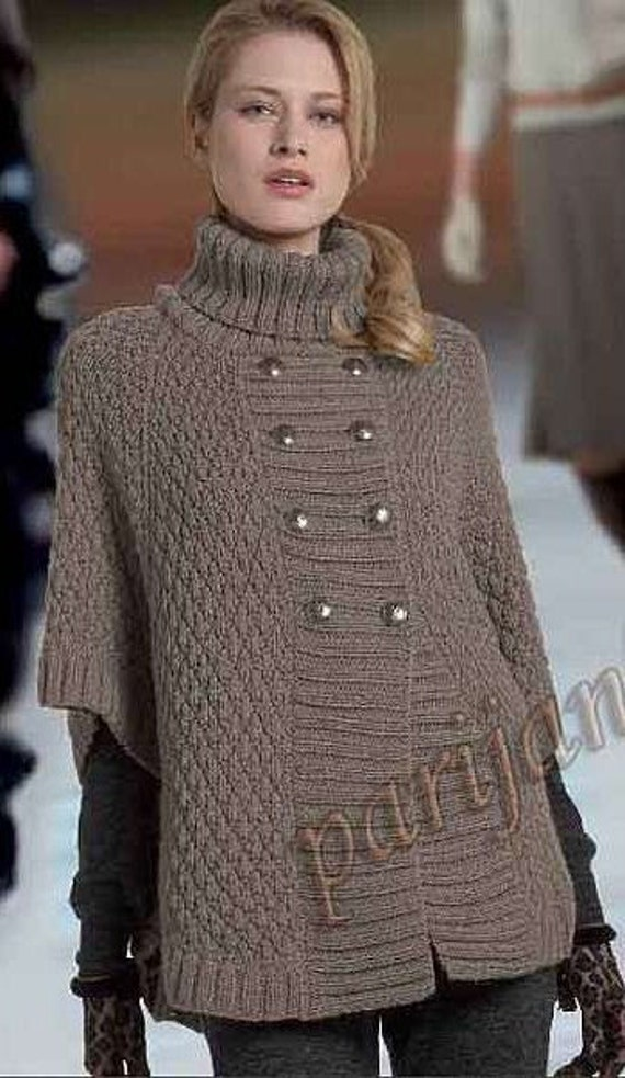 Knitting Pattern For Cape With Sleeves : Items similar to Hand Knit Turtleneck Poncho with sleeves and buttons .Pick y...