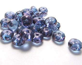Transparent Blue Czech Glass Rondelles with Purple Luster Finish, 6mm x 4mm - 50 pieces