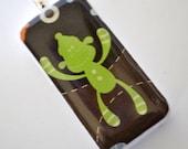 Sock Monkey Pendant - Domino Necklace - Game Piece Jewelry - Green Monkey