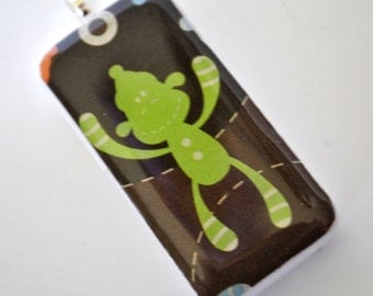 Sock Monkey Pendant - Domino Necklace - Game Piece Jewelry - Green Monkey