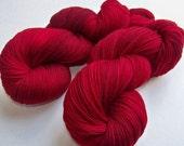 Hand Painted Ultra Merino Superwash Sock Fingering Yarn -- Cranberry