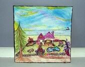 Mixed Media Original Art Serenity Cottage Acrylic Marker Pencil Glitter ooak 4.75 by 4.75