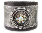 Shimmering Rhinestone and Recycled Leather Cuff
