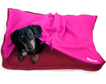 Eco Pet Bed - Recycled Poppy Red and Pink Fleece