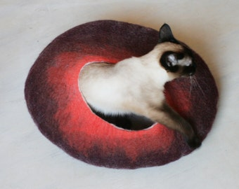 Cat Nap Cocoon / Cave / Bed / House / Vessel - Hand Felted Wool - Crisp Contemporary Design - READY TO SHIP Maroon Red