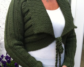 Dark Olive Green Ladies Cardigan-Womens Shrug, Long Sleeved Cropped Cardigan-Ready to Ship