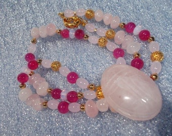Egyptian Rose Quartz Scarab Pendant and Agate-25 inch Necklace