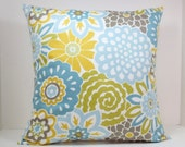 Waverly Blooms decorative throw pillow cover 18 x18 inches Accent cushion sham in Spa blue, green, yellow and taupe.