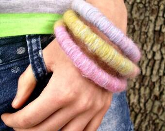 Bangle Bracelets - Yarn Bracelets - Yarn Wrapped Soft Bangle Bracelets in Pastel Pink and Green Womens Accessories - READY TO SHIP