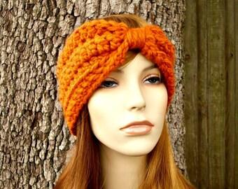 Womens Crochet Headband Earwarmer - Crochet Turban Headband in Pumpkin Orange - Orange Headband Orange Ear Warmer Womens Accessories