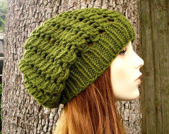 Green Womens Hat Green Slouchy Beanie - Spring Cyclone Beret Olive Green Knit Hat - Green Hat Womens Accessories