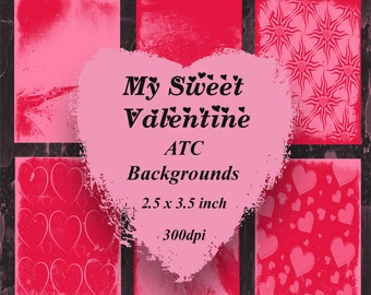 My Sweet Valentine Digital ATC Background Set
