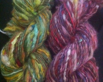 OOAK set of 2 skeins FLOWER and STEM mix multi colored Hand Dyed Handspun single ply Art Yarns 209 yards Wool