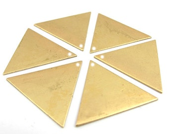 Brass Triangle Engraving Charm Findings - with hole - (4X) (M550)