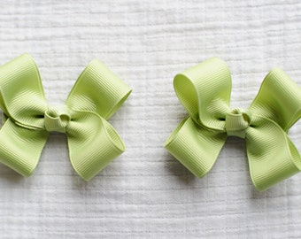 Celadon Hair Bows,Pigtail Hair Bows,Baby Hair Bows,Toddler Hair Bows,3 Inch Wide Hair Bows,Birthday Party Favors,Alligator Clips