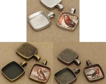 15pcs 18mm  square Pewter base lead free nickel free Blank Pendant Tray