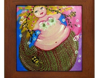 Big Pink  Mermaid Fun Diva Folk Art Framed Ceramic Tile