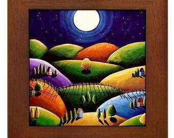 Peace on Earth 5 Landscape Moon Colorful Whimsical Folk Art Framed Ceramic Tile