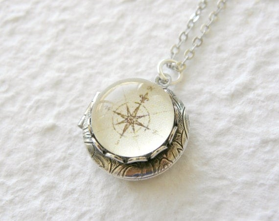 Antique Compass Locket Necklace - Pick your design Great gift for grads CHOOSE from 7 Compass Designs