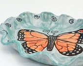 Monarch Butterfly Large Oval Plate or Platter Handmade Ready to Ship