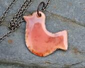 Copper Enamel Bird Pendant Necklace Peachy Bird