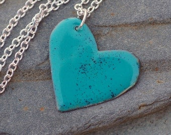 Enamel Heart Pendant Necklace Copper Enameled Jewelry Turquoise