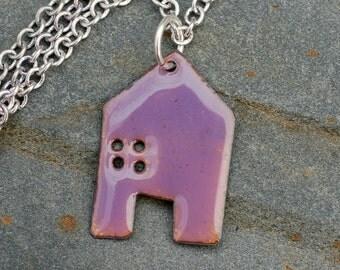 Enamel House Pendant Copper Home Necklace Enameled Jewelry - Mauve