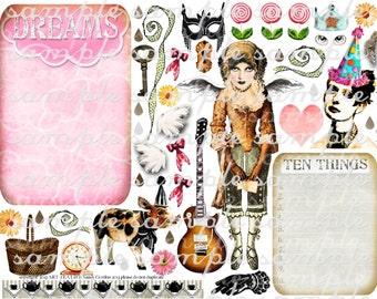 ART TEA LiFE Journal Girl Paper Doll Collage Sheet digital file decoupage clip art scrapbook journalling page parts