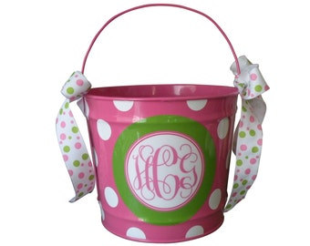 personalized 10 QUART preppy monogram design monogrammed bucket in pink and green